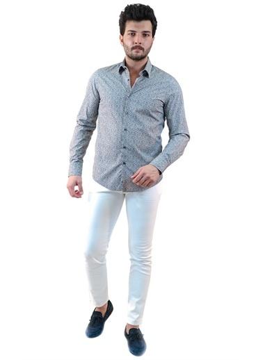 Boris Becker Uzun Kol Yaprak Desenli Erkek Gömlek Antrasit